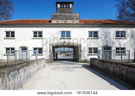 Dachau Bavaria Germany.- March 28 2017. Main security building entrance at Dachau concentration camp in Germany