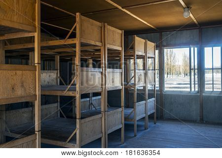 Berths And Furniture Inside The Barracks Of The Dachau Concentration Camp