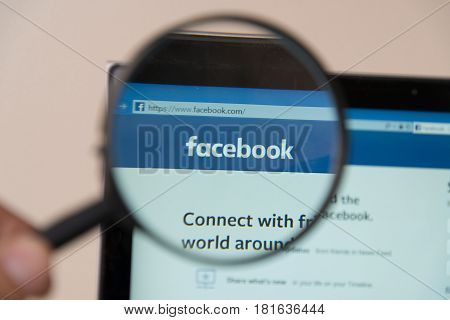 Nitra, Slovakia, april 14, 2017: Facebook website under a magnifying glass. Facebook is the most visited social network in the world