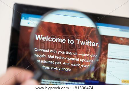 Nitra, Slovakia, april 14, 2017: Twitter web page under magnifying glass. Twitter is a well known free social networking microblogging service.