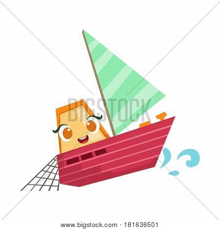 Sailing Fisherman Fishing Boat, Cute Girly Toy Wooden Ship With Face Cartoon Illustration. Funny Isolated Water Transportation Character With Big Eyes And Smile.