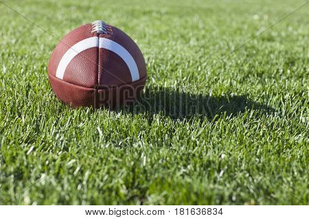 Selective focus low angle view of a college style football on a grass field