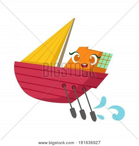 Small Sailing Yacht With Paddles Set, Cute Girly Toy Wooden Ship With Face Cartoon Illustration. Funny Isolated Water Transportation Character With Big Eyes And Smile.