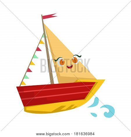 Sailing Yaht With Flag Garland, Cute Girly Toy Wooden Ship With Face Cartoon Illustration. Funny Isolated Water Transportation Character With Big Eyes And Smile.