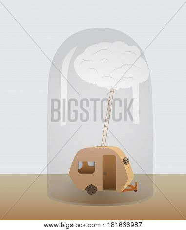 A motorhome under a glass dome. Vector Illustration