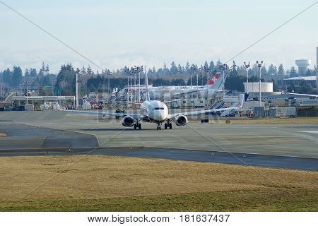 EVERETT, WASHINGTON, USA - JAN 26th, 2017: Brand new Japan Airlines Boeing 787-9 MSN 34843, Registration JA867J lining up for takeoff for a test flight at Snohomish County Airport or Paine Field.