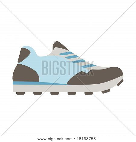 Blue Running Sneaker, Isolated Footwear Flat Icon, Shoes Store Assortment Item. Cartoon Realistic Footgear Single Object, Fashion Accessory Simple Vector Illustration.