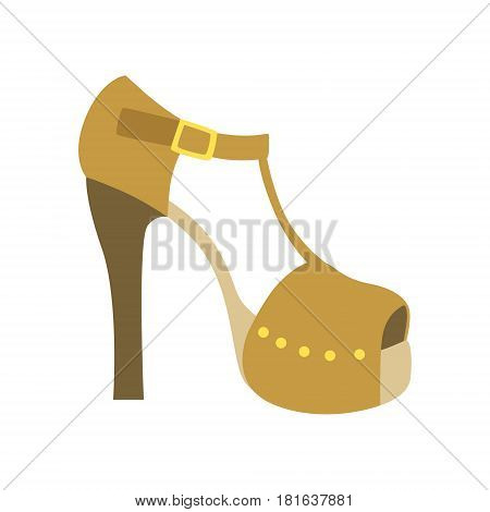 Ankle Strap Shoe On A Heel, Isolated Footwear Flat Icon, Shoes Store Assortment Item. Cartoon Realistic Footgear Single Object, Fashion Accessory Simple Vector Illustration.