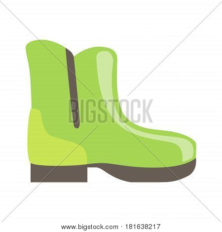 Green Rubber Boot, Isolated Footwear Flat Icon, Shoes Store Assortment Item. Cartoon Realistic Footgear Single Object, Fashion Accessory Simple Vector Illustration.