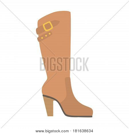 Knee-High Female Boot, Isolated Footwear Flat Icon, Shoes Store Assortment Item. Cartoon Realistic Footgear Single Object, Fashion Accessory Simple Vector Illustration.