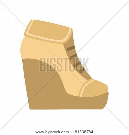 Female Brown Wedge Bootie, Isolated Footwear Flat Icon, Shoes Store Assortment Item. Cartoon Realistic Footgear Single Object, Fashion Accessory Simple Vector Illustration.