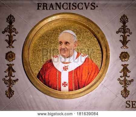 ROME, ITALY - SEPTEMBER 05: Pope Francis, Jorge Mario Bergoglio is the 266th and current Pope of the Roman Catholic Church, the basilica of Saint Paul Outside the Walls, Rome on September 05, 2016.