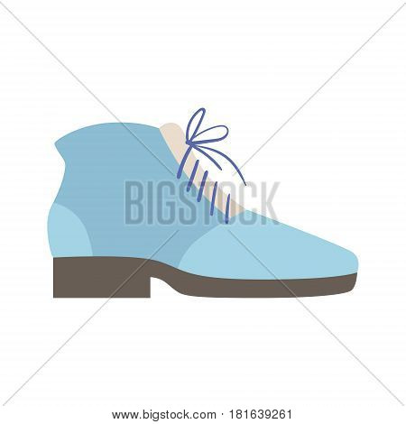 Blue Lace-up Shoe, Isolated Footwear Flat Icon, Shoes Store Assortment Item. Cartoon Realistic Footgear Single Object, Fashion Accessory Simple Vector Illustration.