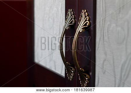 Decorated Gold Cabinet Handles On Wooden And Fabric Material Cabinet. Baroque Luxurious Style Close
