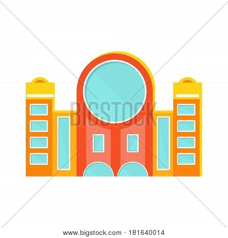 Red And Yellow Shopping Mall Modern Building Exterior Design Project With Large Round Window Template Isolated Flat Illustration. Office Or Commercial Space Contemporary Architecture Project Idea Simple Vector Icon.