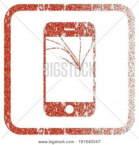 Broken Smartphone Screen textured icon for overlay watermark stamps. Red vectorized texture. Flat red vector symbol with dirty design inside rounded square frame. Framed rubber seal stamp imitation.