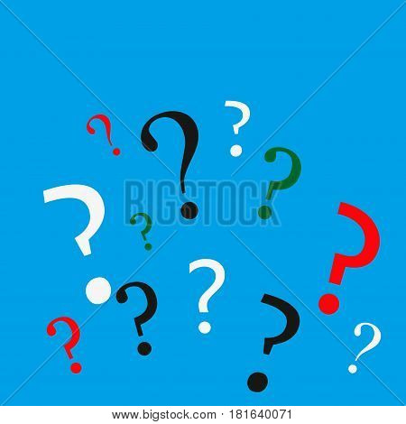 Many question marks of various colors on blue background. Problem, challenge, choice and confusion concept. Flat design