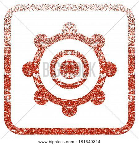Cog Wheel textured icon for overlay watermark stamps. Red vectorized texture. Flat red vector symbol with dust design inside rounded square frame. Framed rubber seal stamp imitation.