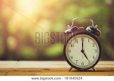 5 O'clock Retro Clock Vintage Color Tone In The Garden
