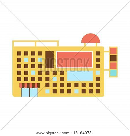 Shopping Mall Modern Building Exterior Design Project With Small Windows And Advertisement Space Template Isolated Flat Illustration. Office Or Commercial Space Contemporary Architecture Project Idea Simple Vector Icon.