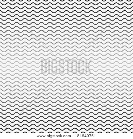 Vector seamless pattern, horizontal wavy lines. Monochrome background with halftone transition effect. Simple black white repeat texture with curved ranges. Design element for prints, decor, digital