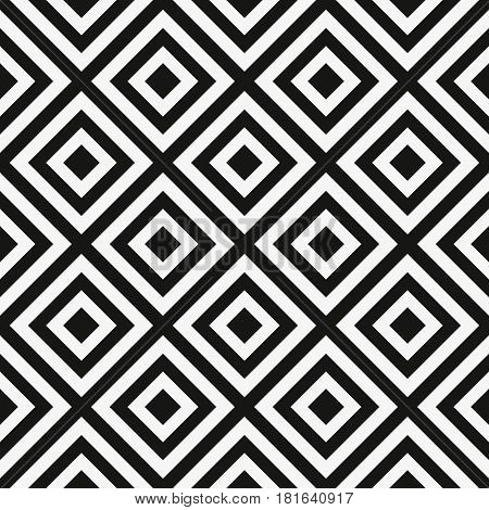 Vector seamless pattern. Decorative element, design template with striped black and white diagonal inclined lines. Background, texture with optical illusion effect