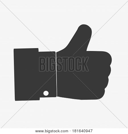 Hand Thumb Up icon flat. Illustration isolated on white background. Vector grey sign symbol.