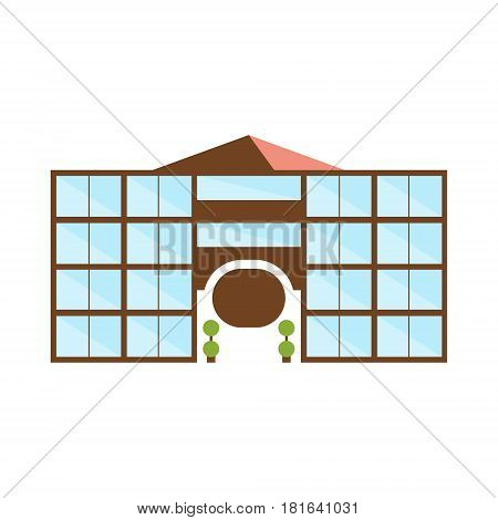 Symmetric Shopping Mall Modern Building Exterior Design With Triange Roof And Arch Project Template Isolated Flat Illustration. Office Or Commercial Space Contemporary Architecture Project Idea Simple Vector Icon.