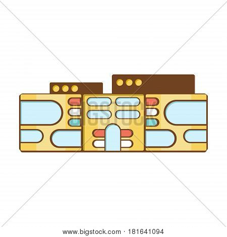 Futuristic Graphic Shopping Mall Modern Building Exterior Design Project Template Isolated Flat Illustration. Office Or Commercial Space Contemporary Architecture Project Idea Simple Vector Icon.