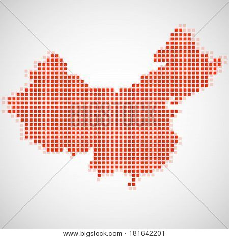 Pixel map of China. Vector illustration. Eps 10