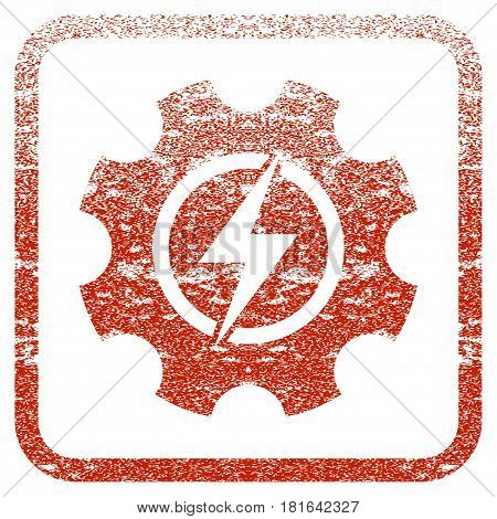 Electric Power Cog Gear textured icon for overlay watermark stamps. Red vectorized texture. Flat red vector symbol with unclean design inside rounded square frame. Framed rubber seal stamp imitation.