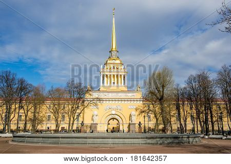 Admiralty building in St.Petersburg Russia with dramatic clouds