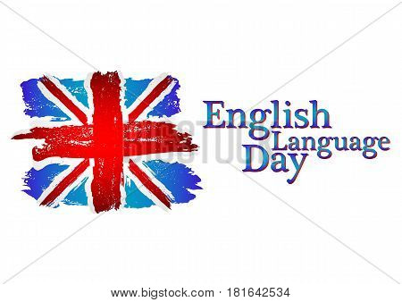 English language day card with flag of Britain from brush strokes in grunge style isolated on white background. Vector illustration