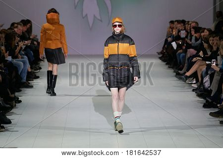 Kyiv, Ukraine - February 7, 2017: Models Walk The Runway During Fashion Show By Marchi Autumn/winter