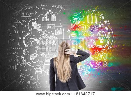 Rear view of a blond businesswoman scratching her head and looking at a creative idea sketch drawn on a blackboard.