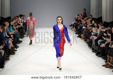 Kyiv, Ukraine - February 7, 2017: Models Walk The Runway During Fashion Show By Kass Autumn/winter 2