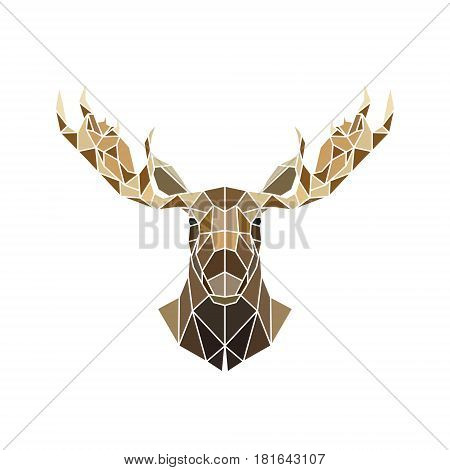 Polygonal style moose face wild animal. Zoo portrait head. Vector illustration.