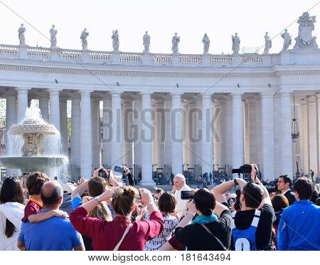 VATICAN CITY VATICAN - APRIL 12 : Pope Francis greets the pilgrims during his weekly general audience in St Peter's square at the Vatican on April 12 2017.