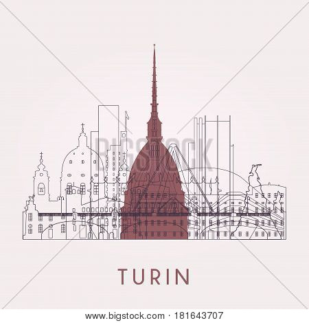 Outline Turin skyline with landmarks. Vector illustration. Business travel and tourism concept with historic buildings. Image for presentation banner placard and web site.