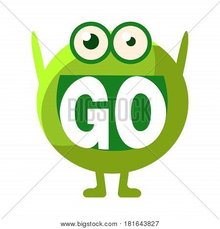 Green Blob Saying Go, Cute Emoji Character With Word In The Mouth Instead Of Teeth, Emoticon Message. Cartoon Abstract Emoticon With Text In Flat Vector Illustration.