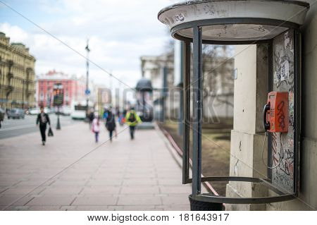 April 13 2015 - St.Petersburg Russia : abandoned payphone on the main street