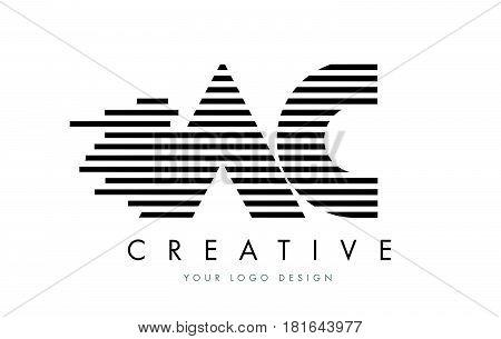 Ac A C Zebra Letter Logo Design With Black And White Stripes