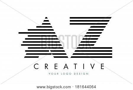 Az A Z Zebra Letter Logo Design With Black And White Stripes