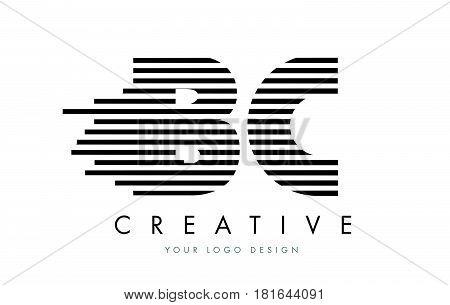 Bc B C Zebra Letter Logo Design With Black And White Stripes