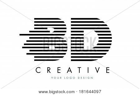 Bd B D Zebra Letter Logo Design With Black And White Stripes