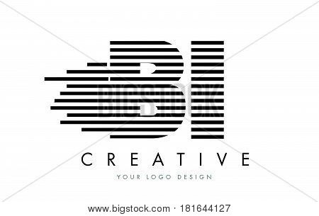Bi B I Zebra Letter Logo Design With Black And White Stripes