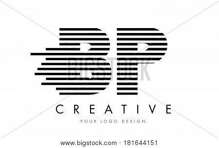 Bp B P Zebra Letter Logo Design With Black And White Stripes