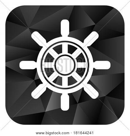 Ship wheel black color web modern brillant design square internet icon on white background.