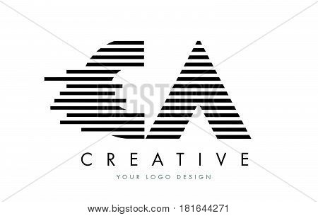 Ca C A Zebra Letter Logo Design With Black And White Stripes