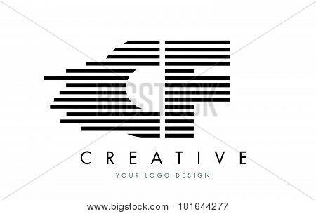 Cf C F Zebra Letter Logo Design With Black And White Stripes